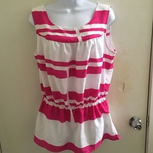 Sunny Leigh peplum sleeveless blouse large